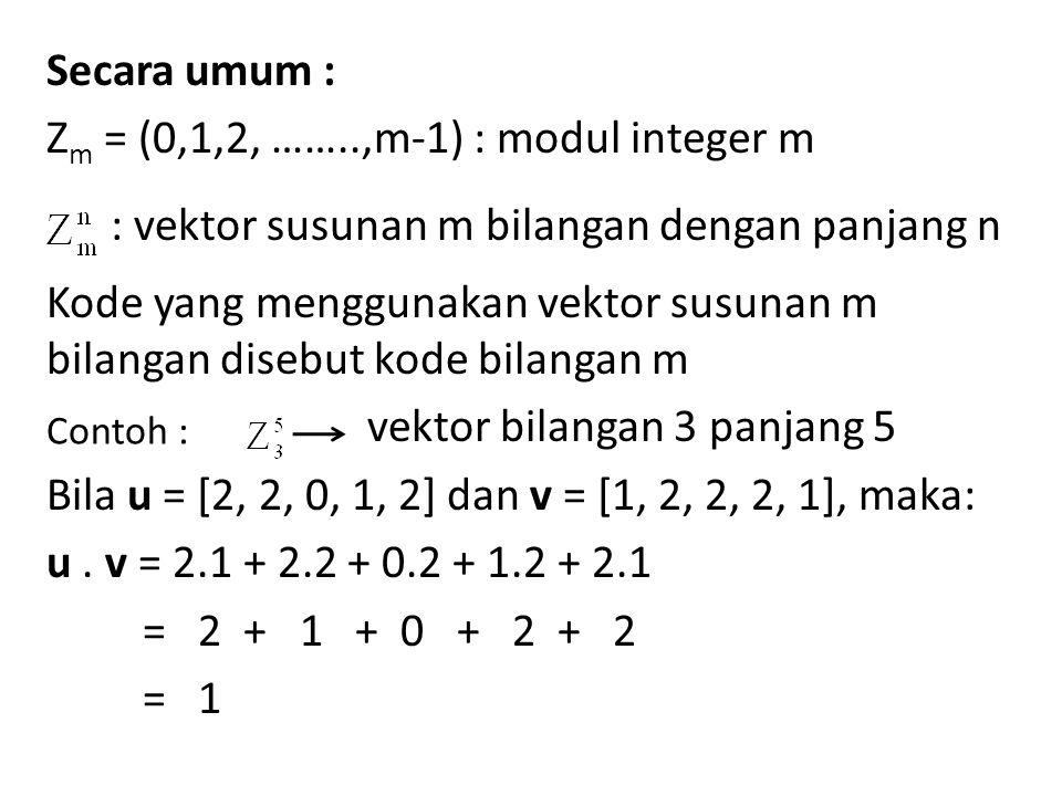 Secara umum : Zm = (0,1,2, ……..,m-1) : modul integer m : vektor susunan m bilangan dengan panjang n Kode yang menggunakan vektor susunan m bilangan disebut kode bilangan m vektor bilangan 3 panjang 5 Bila u = [2, 2, 0, 1, 2] dan v = [1, 2, 2, 2, 1], maka: u . v = 2.1 + 2.2 + 0.2 + 1.2 + 2.1 = 2 + 1 + 0 + 2 + 2 = 1